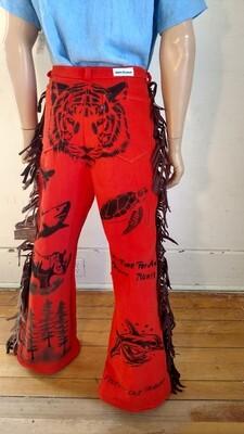 Tiger Grafitti pants fringed orange 33 X 33 Hermans Eco USA