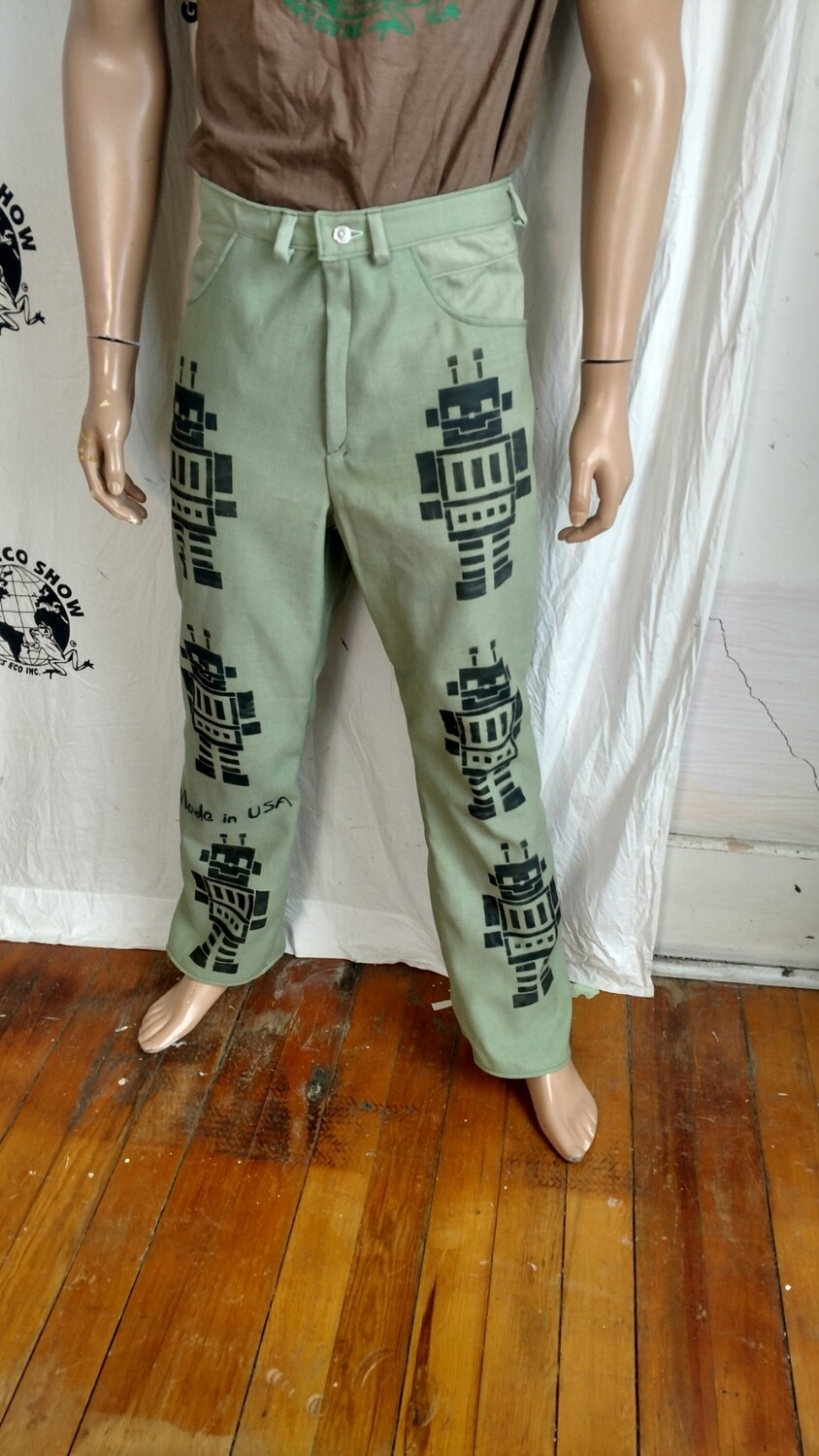 Mens Green Robot jeans 32 X 31 airbrushed