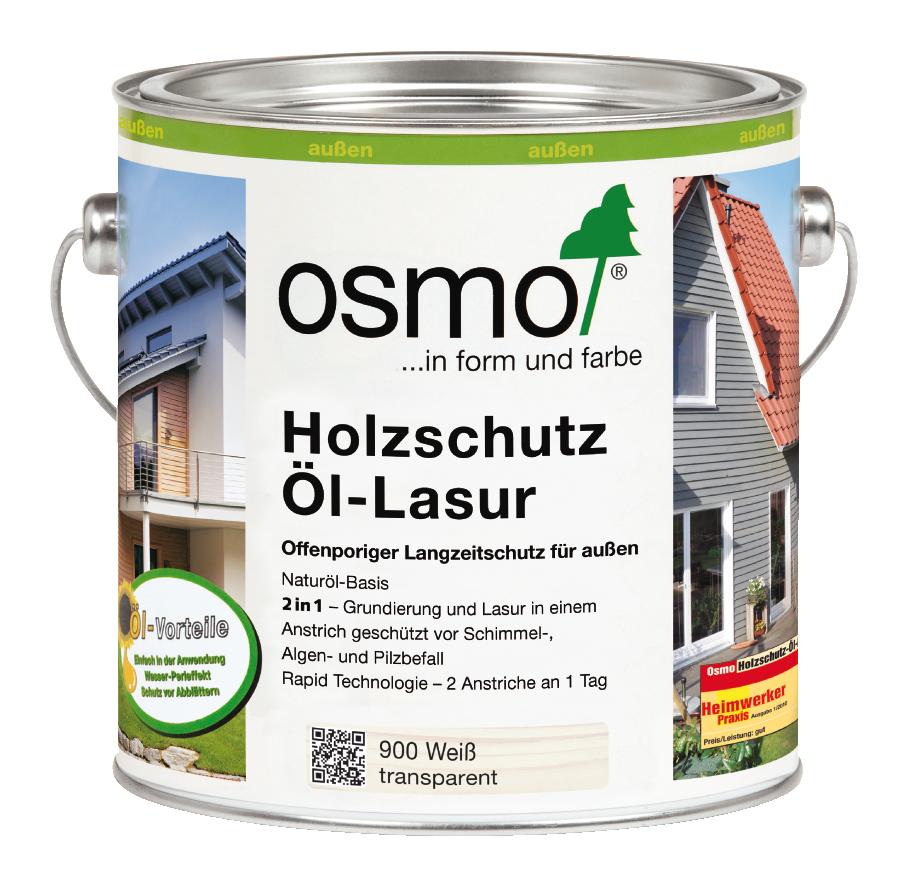 OSMO Holzschutz Öl-Lasur 900 Weiß, 2,5 L 207260111