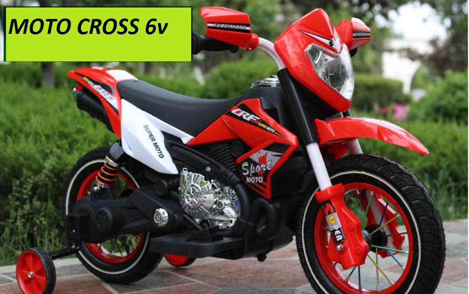 MOTO MOTOCICLETTA ELETTRICA PER BAMBINI MOTO Super Cross 6v  CON RUOTE IN GOMMA GONFIABILI
