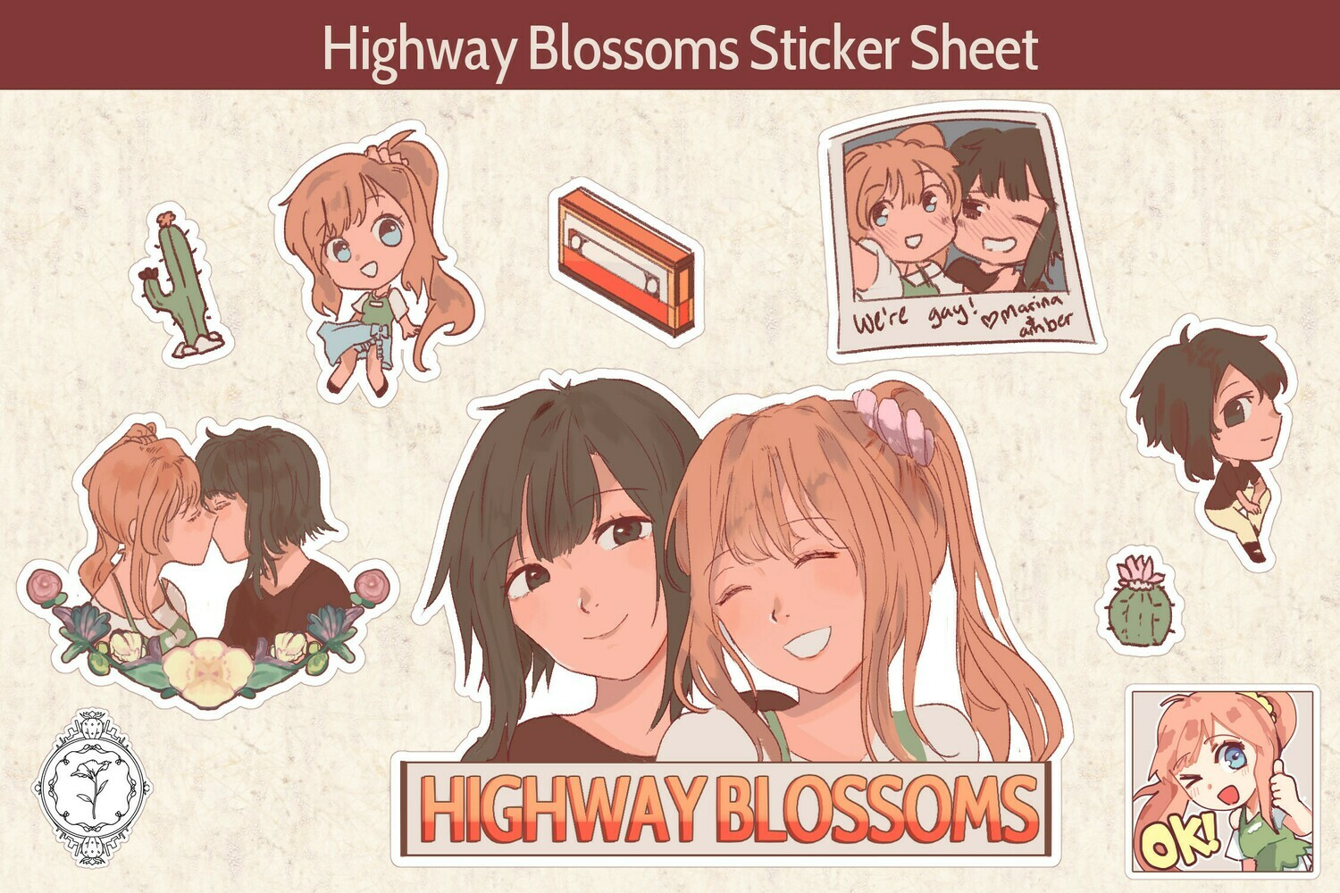 [Spring Collection] Highway Blossoms Kiss Cut Sticker Sheet (PRE-ORDER)