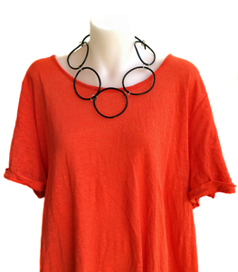 Necklace | Circles | Black | Silicone | Short