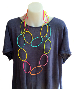 Necklace | Circles | Coloured | Silicone | Long