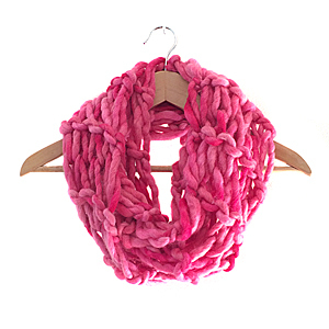 Arm Knitting | Statement Scarf | 100% Wool Roving | Pink
