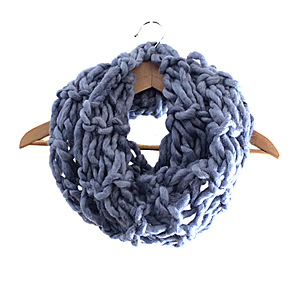 Arm Knitting | Statement Scarf | 100% Wool Roving | Denim Blue