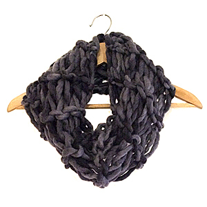 Arm Knitting | Statement Scarf | 100% Wool Roving | Black | *Made to Order*