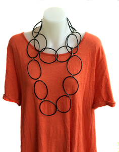 Necklace | Circles | Black | Silicone | Long