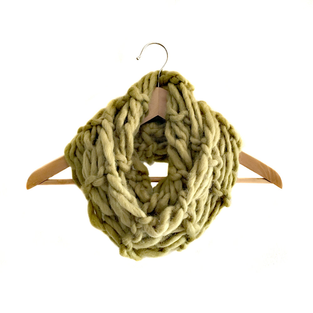 Arm Knitting | Statement Scarf | 100% Wool | Olive Green | *Made to Order*