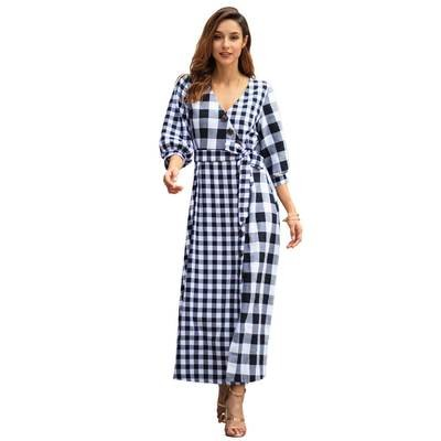 Plaid V-neck Long Maxi Dress