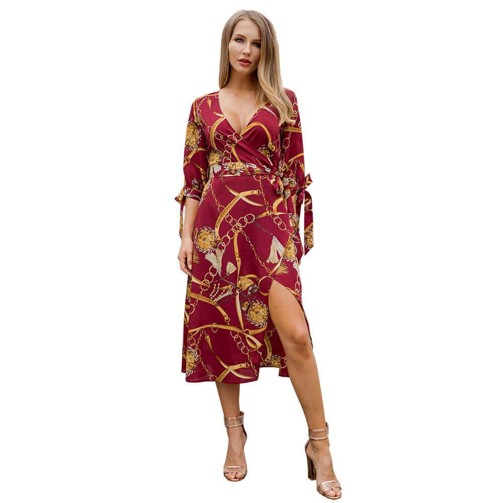 Chain Print Cros V-neck Bowknot Women Dress