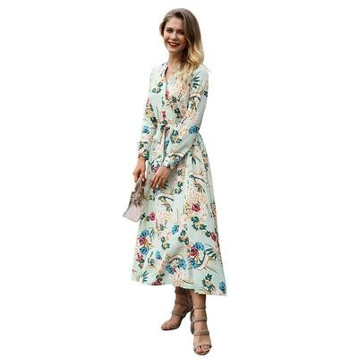 Chiffon Printing V-neck Long Dress