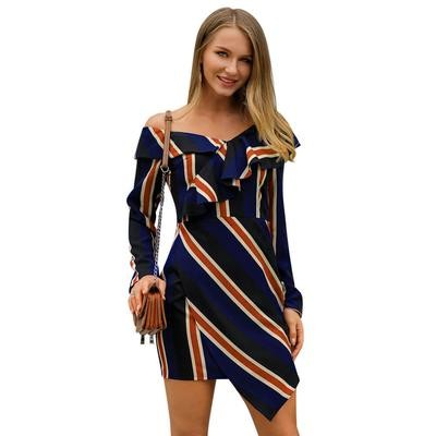 Off Shoulder Striped Ruffles Women Dress