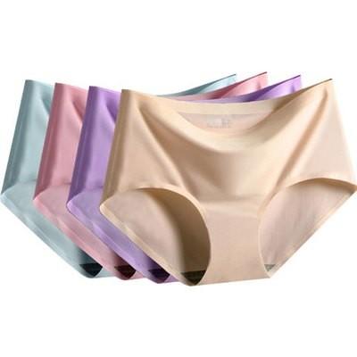 4pcs/lot Traceless Women's Underwear Ice Silk Middle Waist Brief