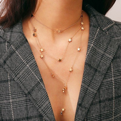 Stars Multilayer Necklace Alloy Necklace Women Necklace