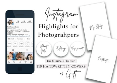 110 Minimalist Instagram Higlight Covers for photograhpers - Handwritten - Black and white - Story gift-| Wedding - Portrait - Family