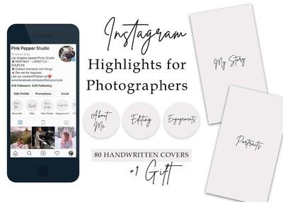 80 Instagram Highlight Covers for Photographers - Instagram Stories - Instagram Story Covers - Text Icons - Handwritten - Wedding