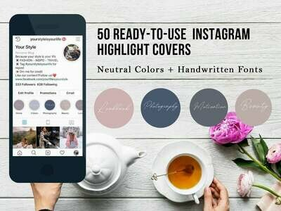 Instagram Higlight Cover for photograhpers with handwritten fonts + neutral colors + gift