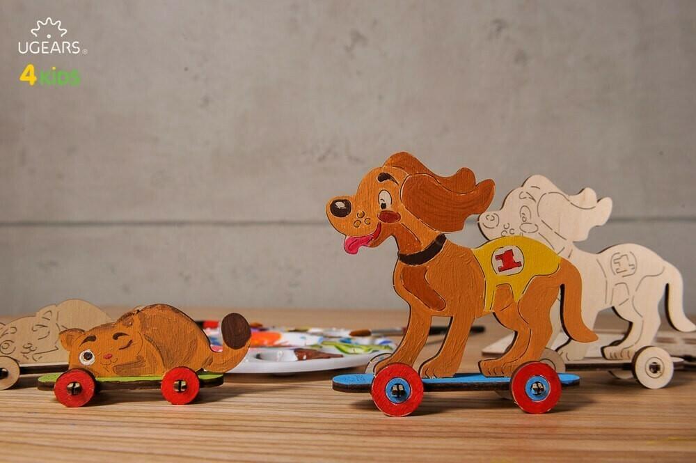 """3D გასაფერადებელი მოდელი """"ძაღლი და კატა"""""""