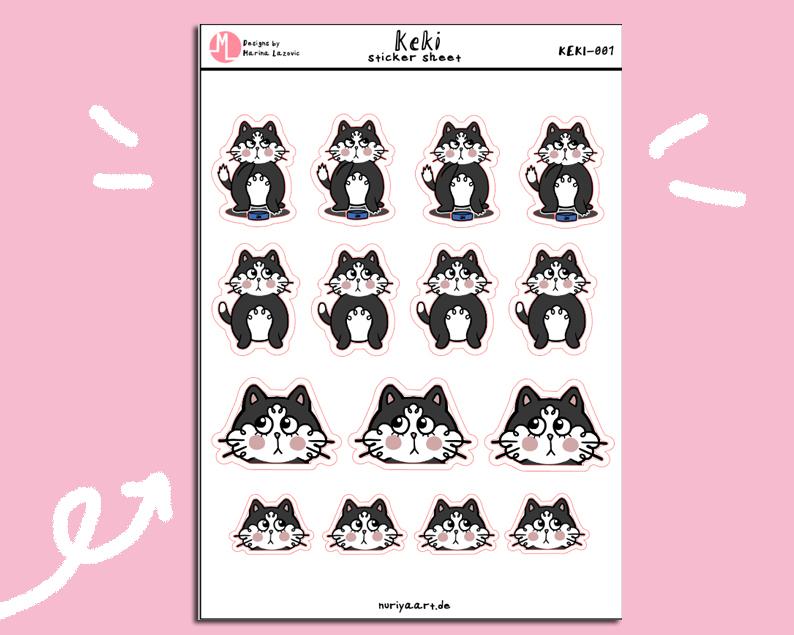 "Keki Stickersheet - Cute ""Keki the Cat"" Planner Stickers KEKI-001"