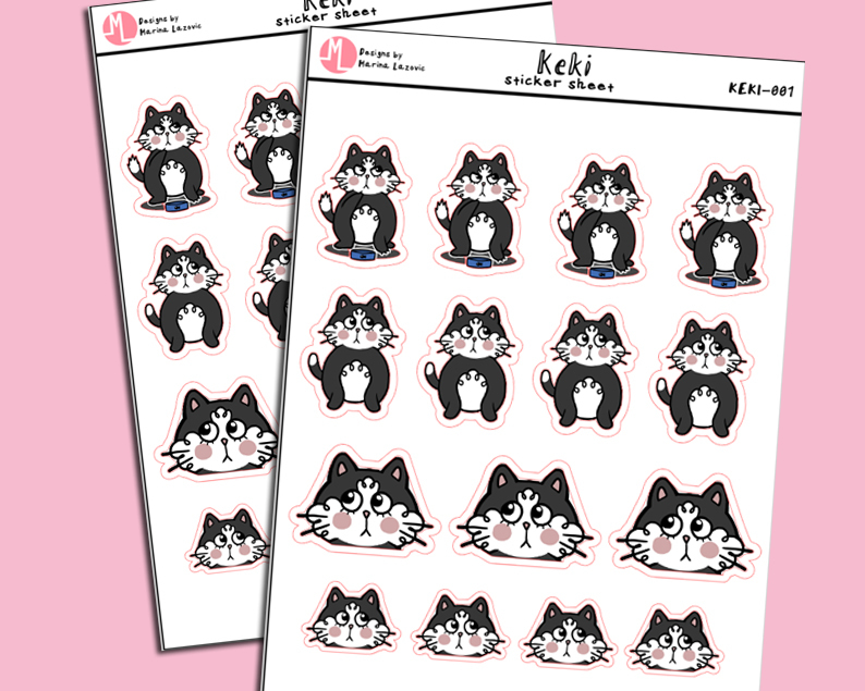 "Keki Stickersheet - Cute ""Keki the Cat"" Planner Stickers"