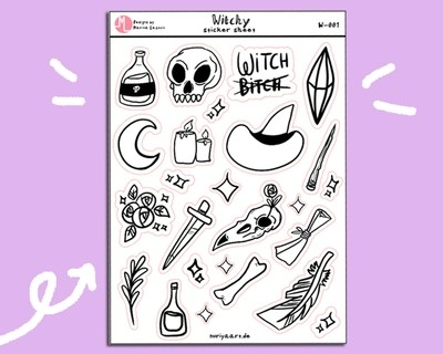 Witchy Stickersheet - Magical Witchcraft Planner Stickers