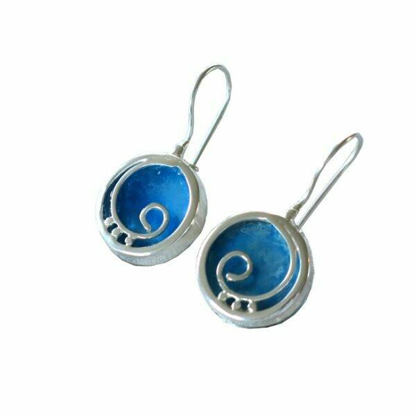 Modern Silver Spiral Design Round Roman Glass Earrings