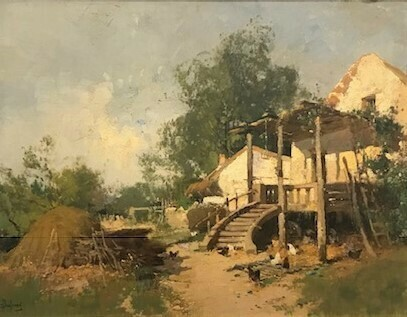 Eugene Galien Laloue - French Cottage Scene