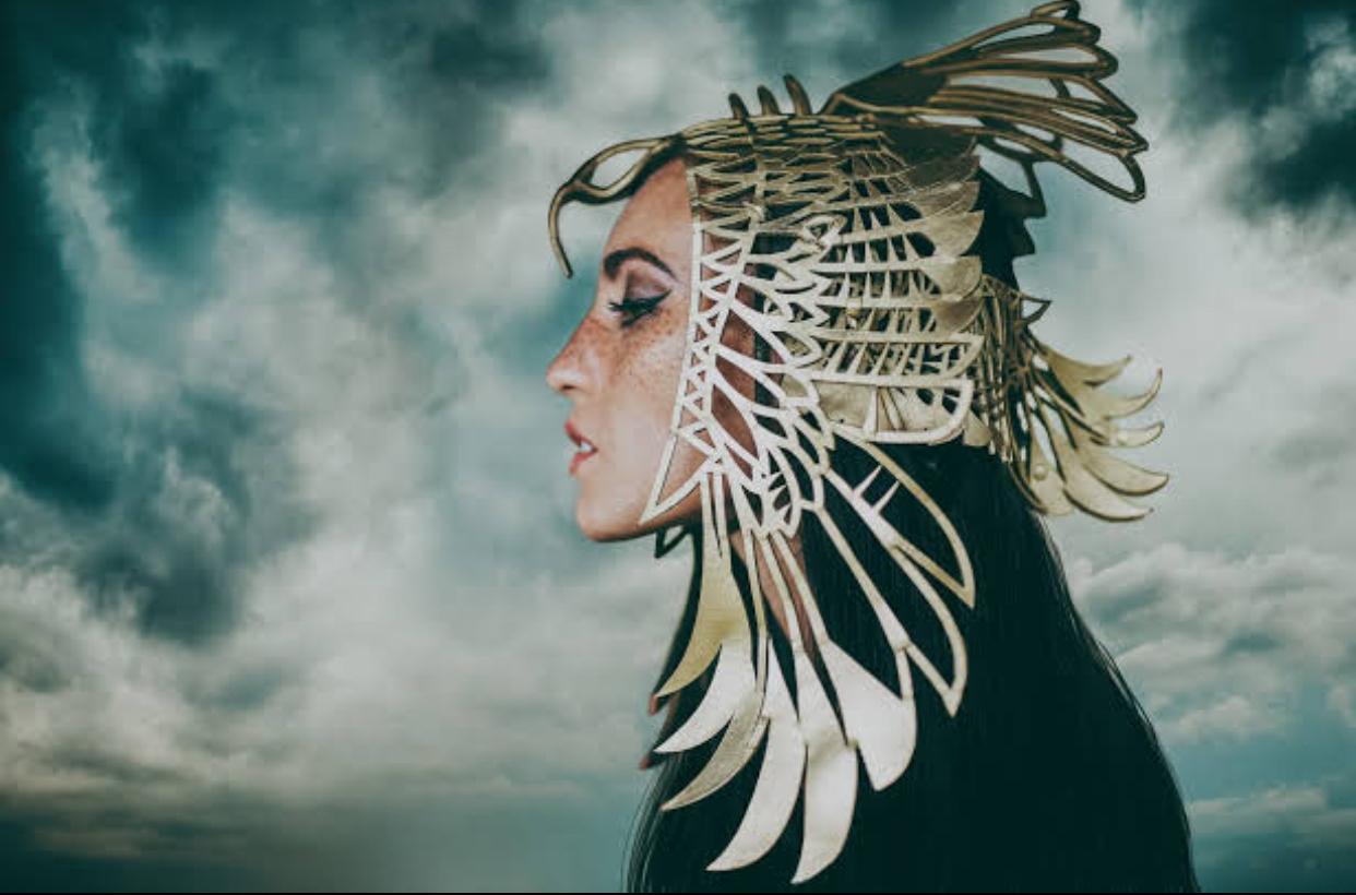 Phoenix gold leather headdress 0002
