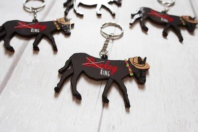 Wooden donkey keyring
