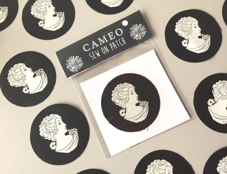 Screenprint cameo fabric patch