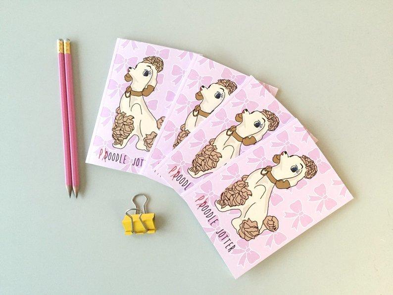 Pink poodle jotter A6 noebook 00013