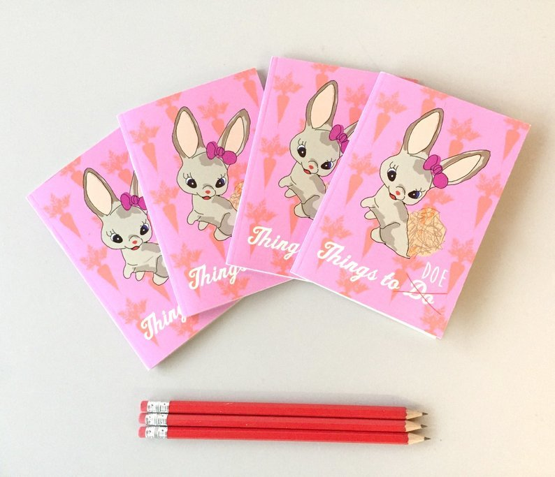 Pink bunny things to do A6 notebook 00014