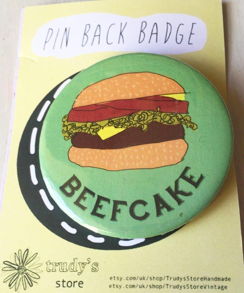 Beefcake burger badge