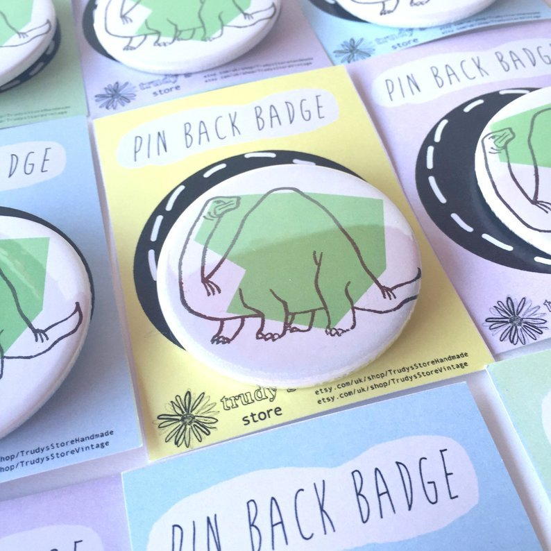 Green Brontosaurus badge 00026