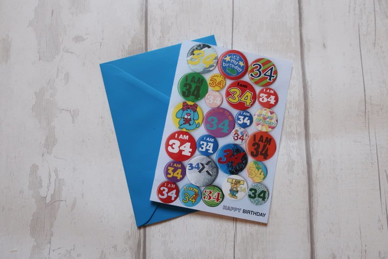 Custom age birthday vintage badge card
