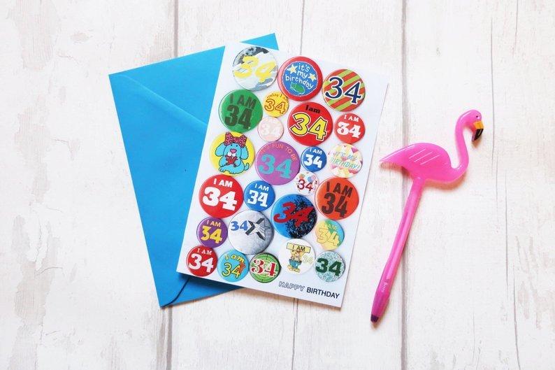 Custom age birthday vintage badge card 00031