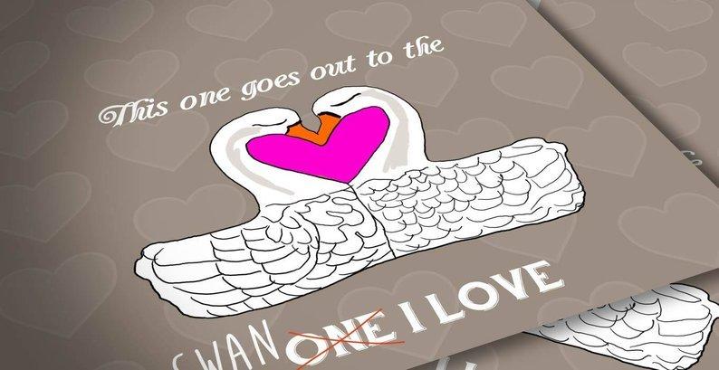 Cute swan love card