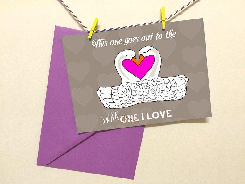 Cute swan love card 00034