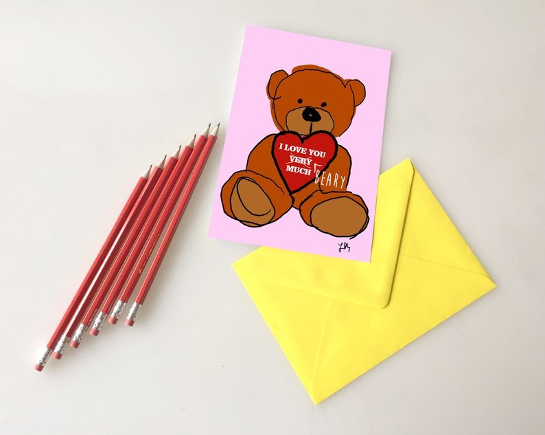 Cute teddy bear love card 00036