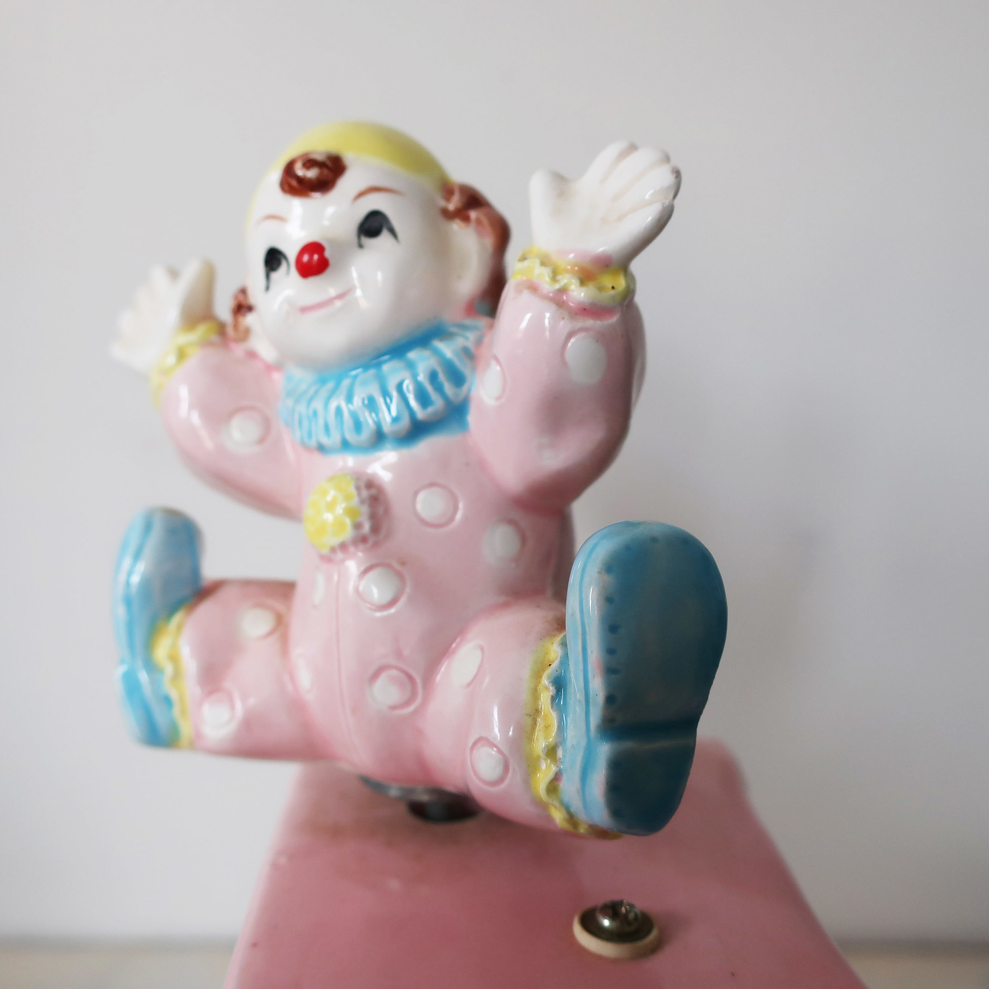 Vintage nursery musical clown planter