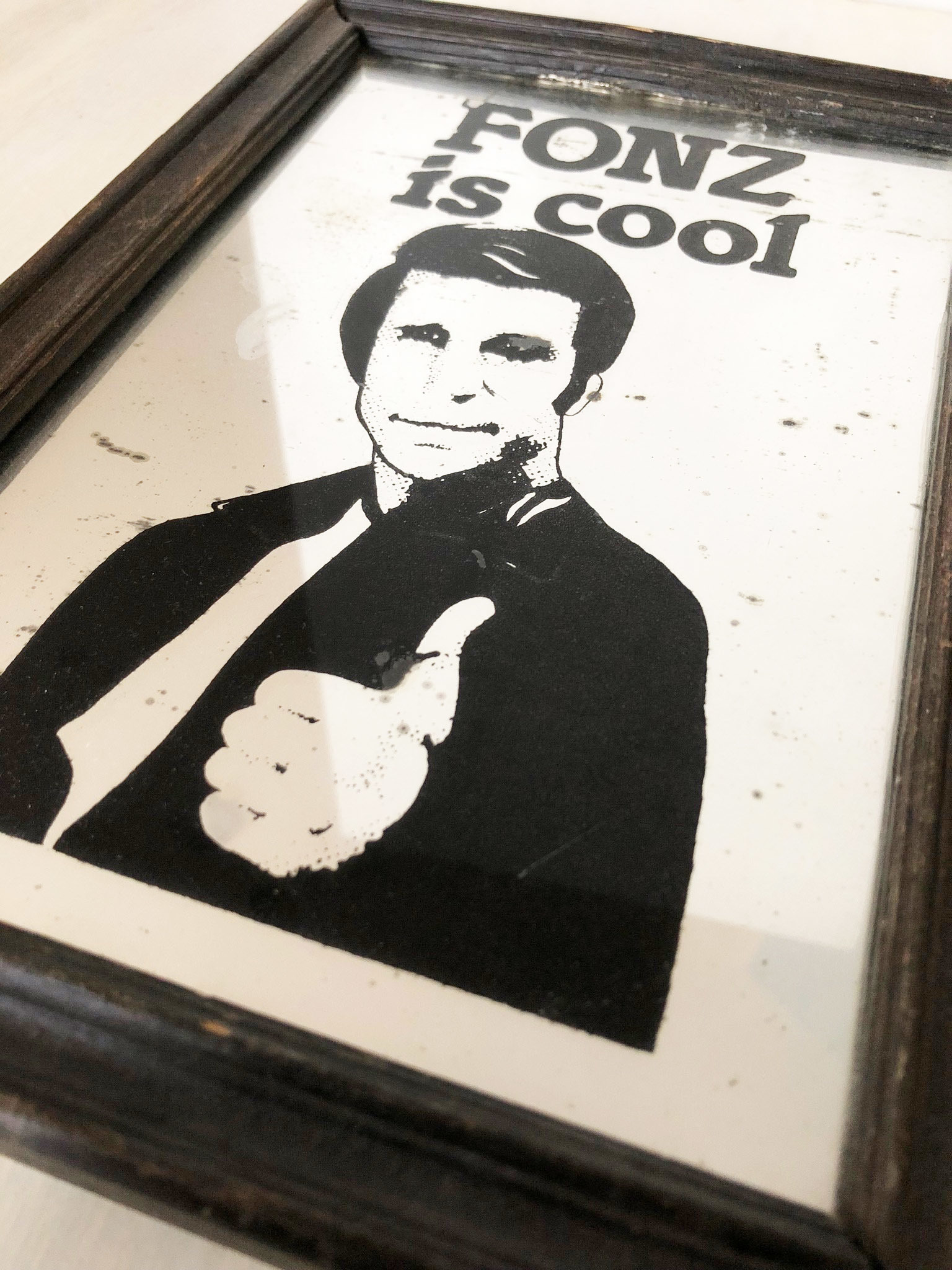 "Vintage ""The Fonz"" picture mirror"