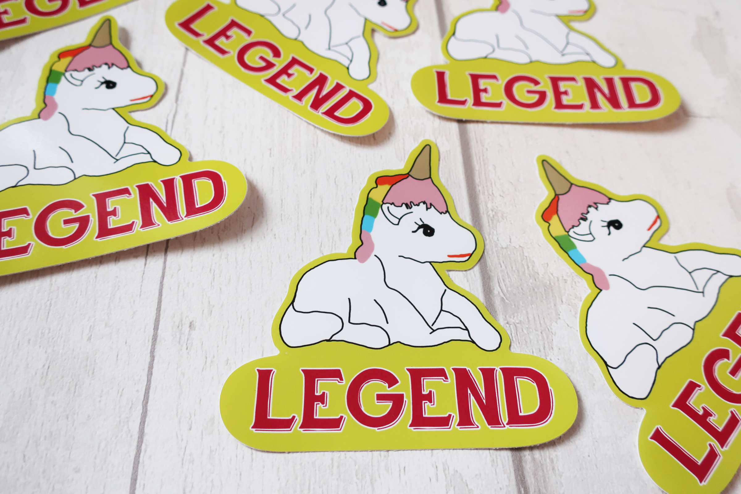 "Cute unicorn shaped "" Legend"" sticker"