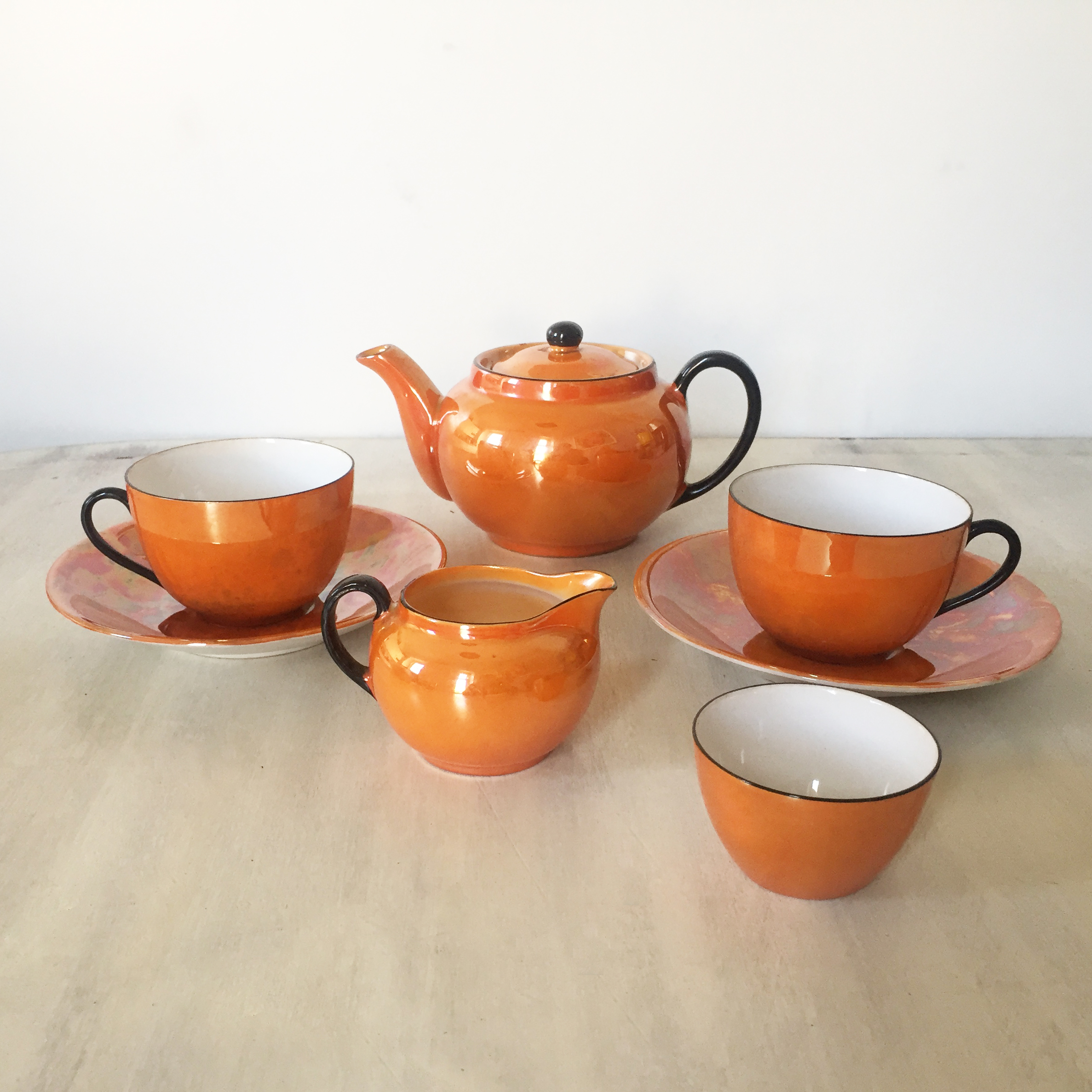 Orange Lustreware Miniature teaset 00054