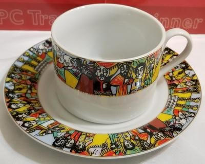 Ethiopian Traditional Coffee Cups - Traditional Design - 6 Caps and 6 Saucers 12 PCS | Queen of Sheba