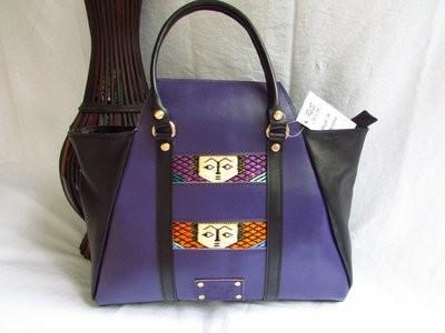 Purple leather handbag for women
