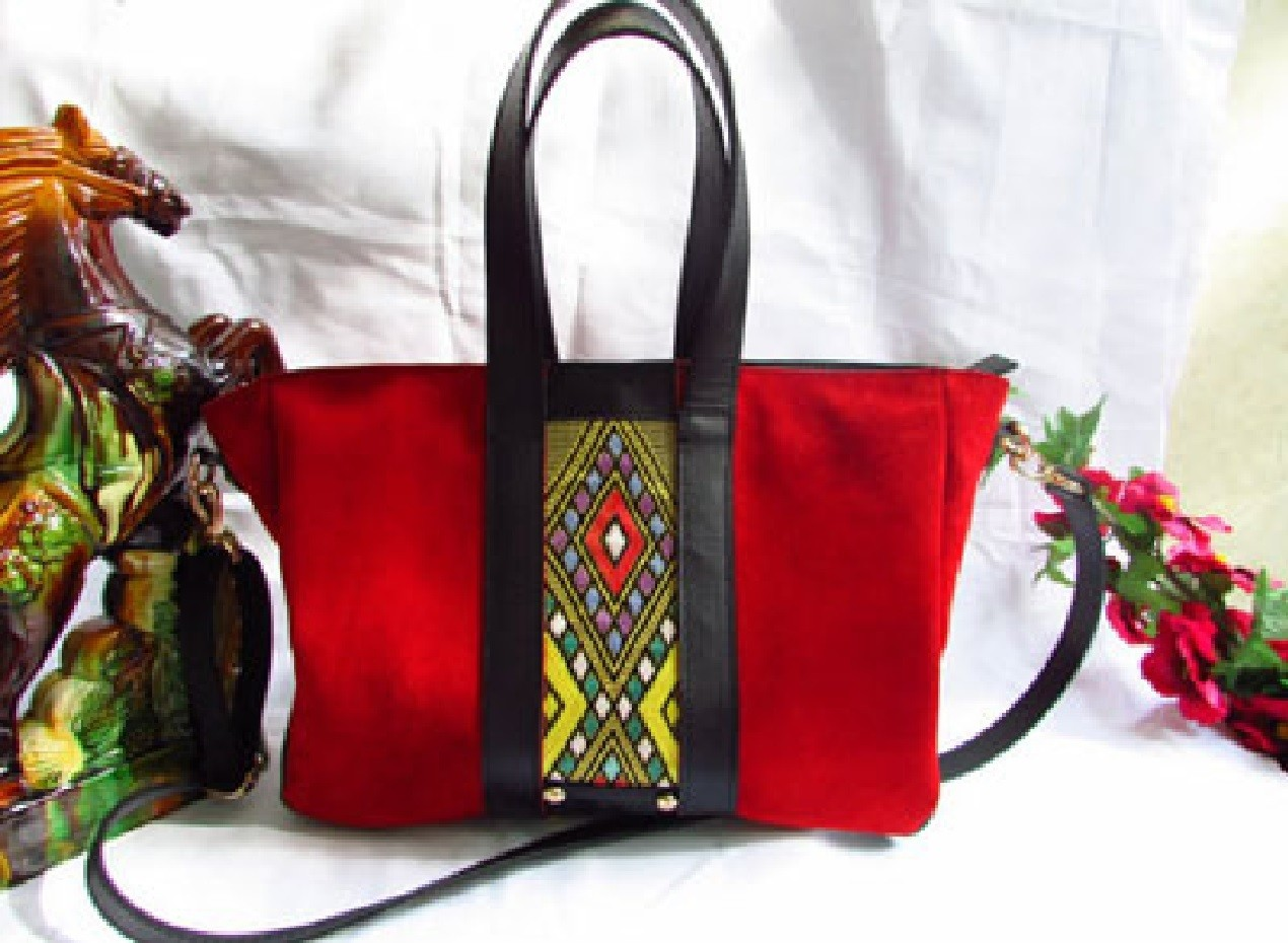 Red Suede Leather Tote Bag