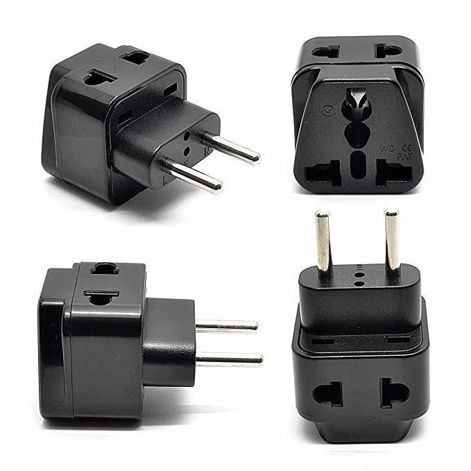 Power Plug Adapter Works in Ethiopia- 4 Pack, Black