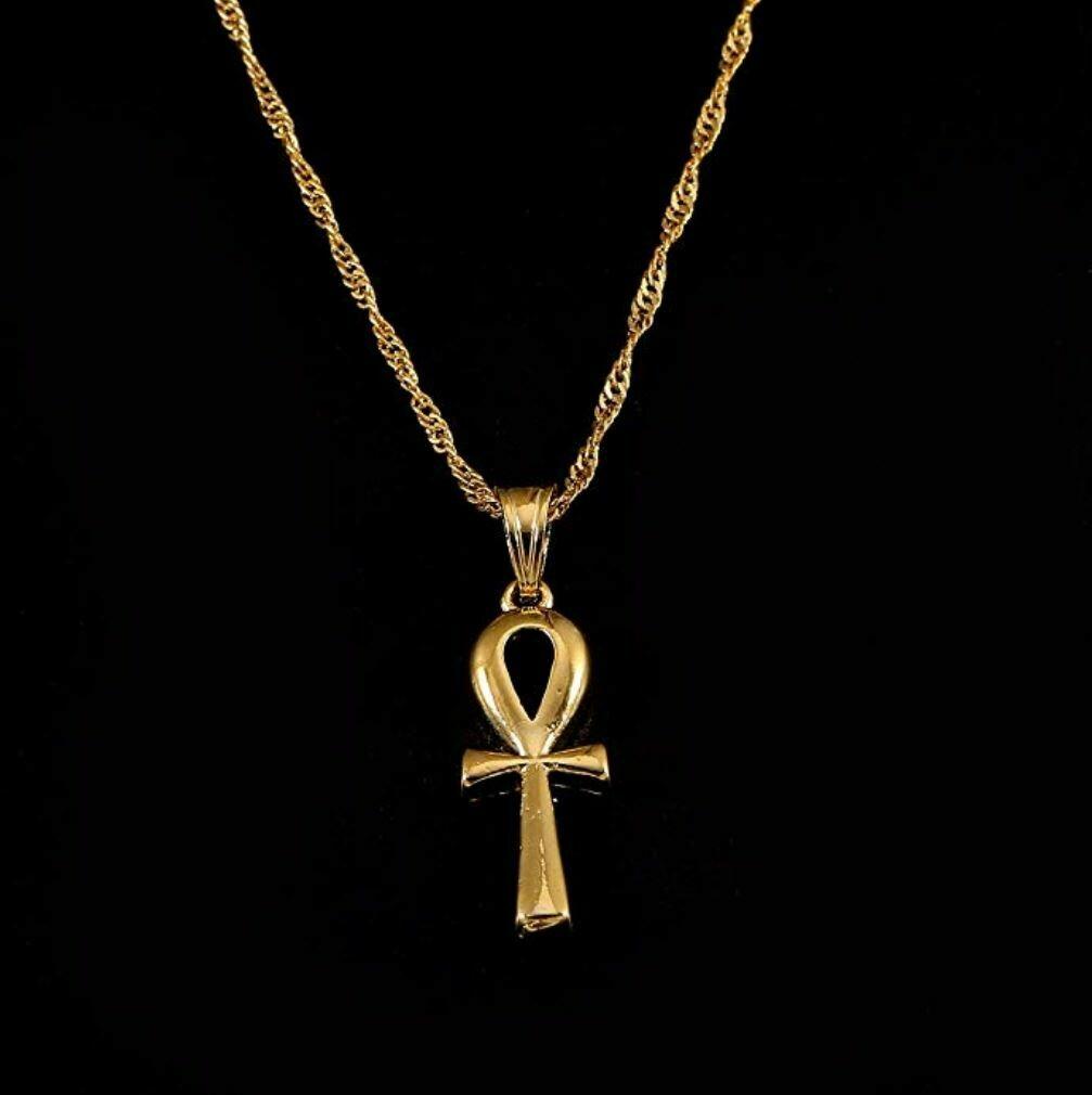 """የ""""ቶ"""" ፊደል ቅርፀ መስቀል ሚስጥር Gold Plated Filled Ethiopian Cross Pendant Necklaces Chain"""