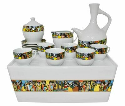 Ethiopian/Eritrean Traditional Coffee Set. Tilet and Saba Edition. Full set የቡና ማቅረቢያ ጀበና እና ሲኒ ሙሉ ሴት ከረከቦት ጋር  ጥለት ወይም ሳባ ዲዛይን