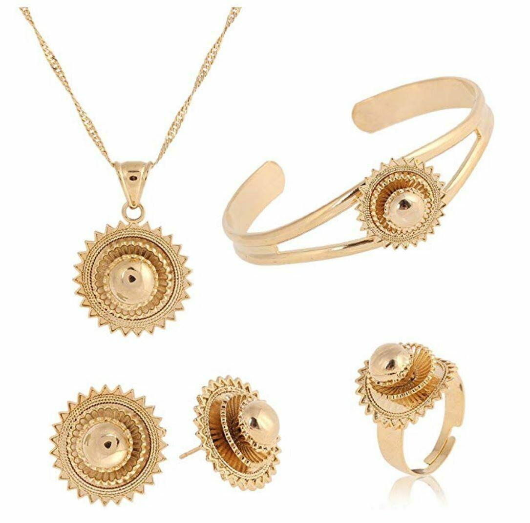የጆሮ፣ አንገት እና ቀለበት ወርቅ ቅብ Ethiopian necklace, earrings and ring set